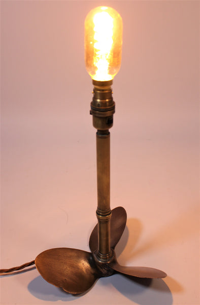 Vintage Desk Lamp Made From Original Brass Propeller