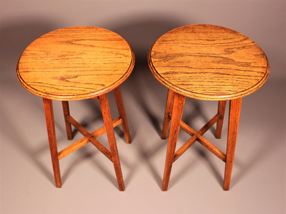 Pair of Victorian Oak Side Tables or Plant Stands