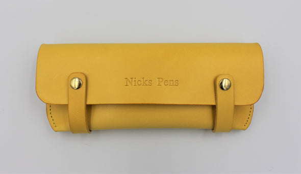 Personalised Leather Pen Case in vibrant yellow Italian Leather