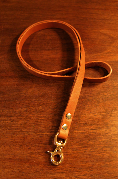 Long Leather Lanyard in Soft Italian Full Grain Cognac Brown Leather - FREE personalisation