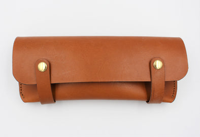 Personalised Leather Pen Case in Tan Full Grain Leather