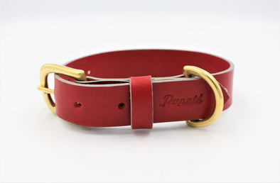 Full Grain Leather Small Dog Collar in Red - FREE personalisation