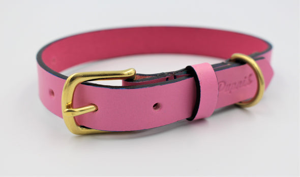 Full Grain Leather Small Dog Collar in Pink - FREE personalisation