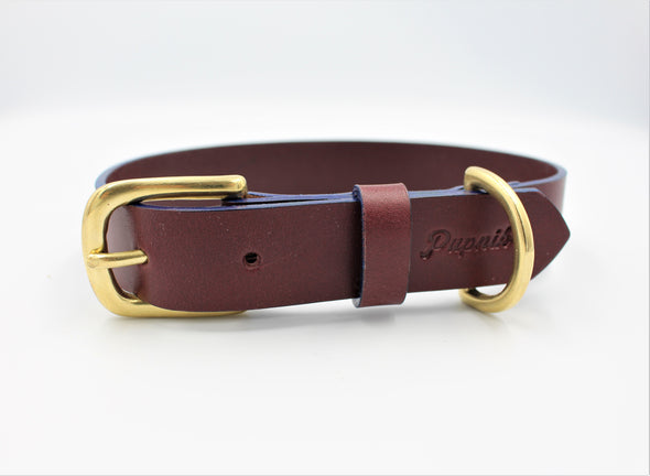 Full Grain Leather Dog Collar in Burgundy - FREE personalisation