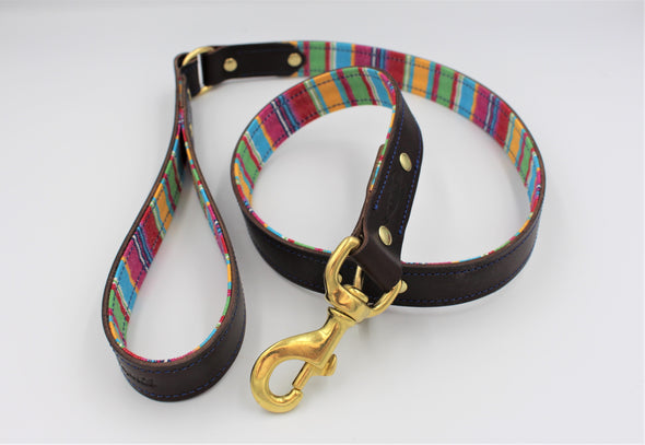 Handmade Full Grain Leather Dog Leash Lead in lovely Rainbow Colours