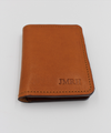 Beautiful Leather Vertical Bifold Wallet Card Holder in Cognac and Teal Italian Leather - Personalisation Option