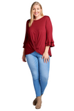 Winter Long Sleeve Plus Size Top in Red