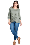 Winter Long Sleeve Curvy Top in Olive
