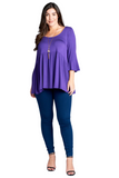 Casual Plus Size Babydoll Top in Purple