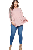 Long Sleeve Plus Size Top in Blush with a Leopard Print detail