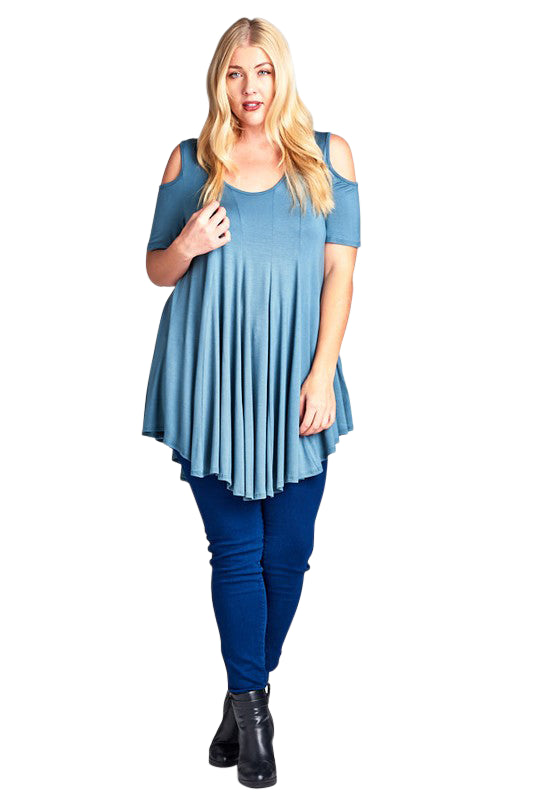 plus size Blouse & Shirt aa. Asha Tunic Top - Steel Blue
