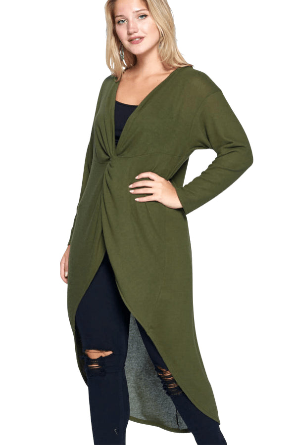 plus size Blouse & Shirt aa. Blaire Hi Low Top - Olive