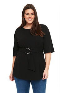 plus size Blouse & Shirt Black / XL / AUS 14 - 16 zzz. Carla Sash Blouse - Black