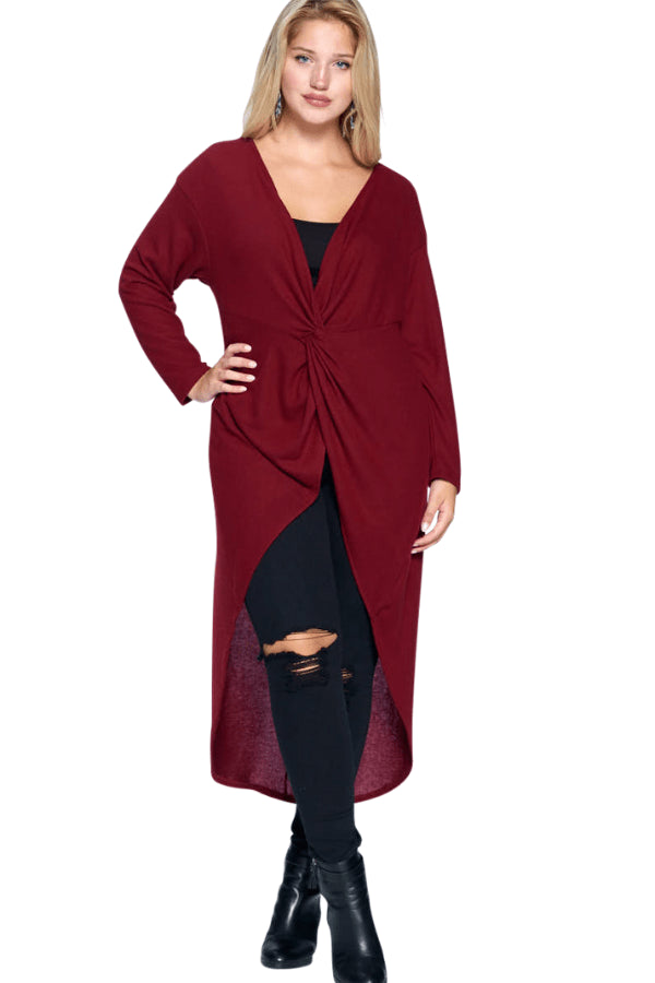 plus size Blouse & Shirt Blaire Hi Low Top - Burgundy