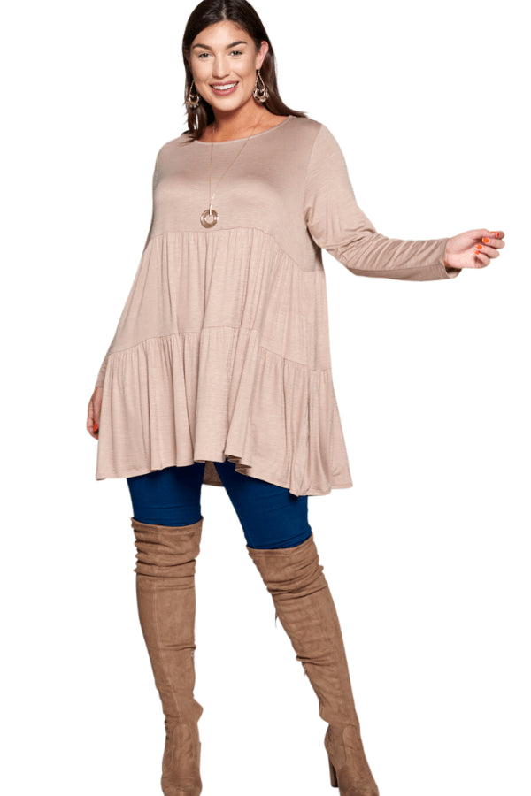 plus size Blouse & Shirt Florence Babydoll Top - Taupe