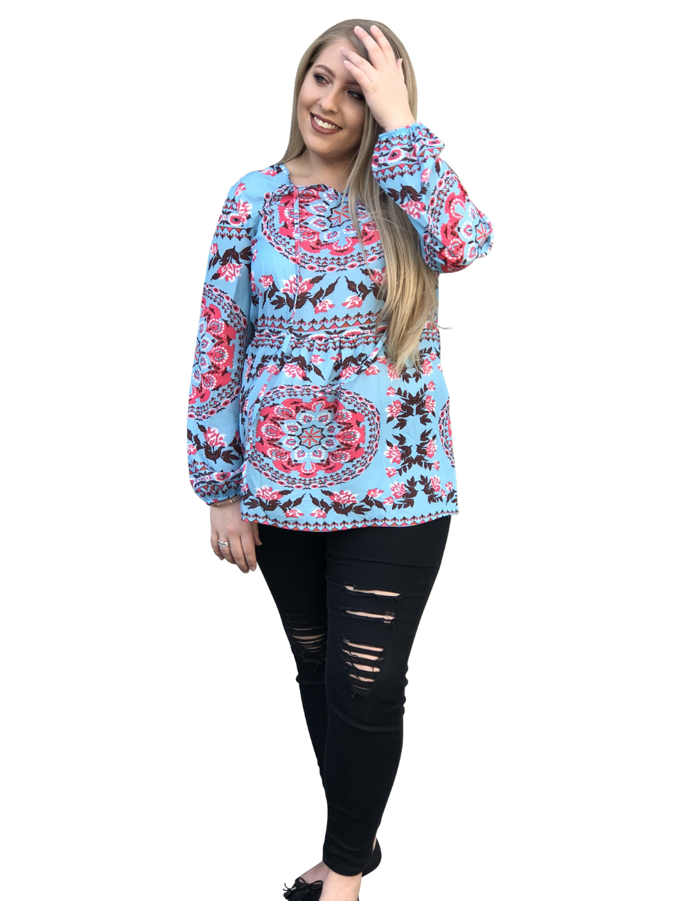 plus size Blouse & Shirt L / AUS 14 / Multi Skye Bohemian Top - CLEARANCE