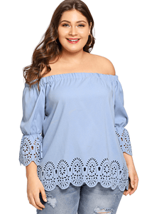 plus size Blouse & Shirt XL / AUS 14 / Blue Stacey Off Shoulder Blouse - CLEARANCE