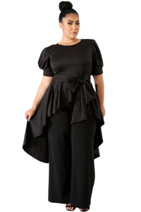 plus size Blouse & Shirt XL / AUS 16 - 18 / Black Cassie Long Tail Top - Black