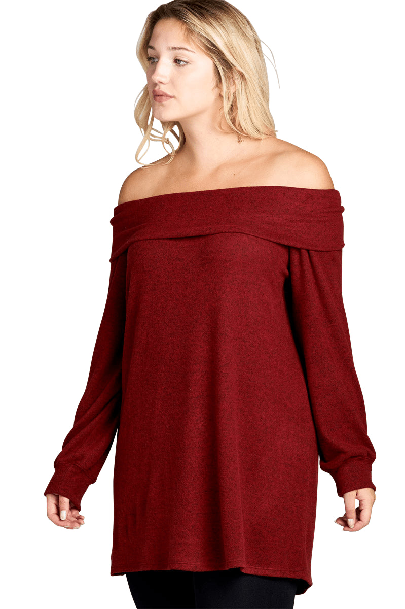 plus size Blouse & Shirt XL / AUS 16 - 18 / Wine Red Heather Top - Red