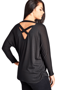 plus size Blouse & Shirt XL / AUS 16 / Black ab. Gianna Top - SAMPLE
