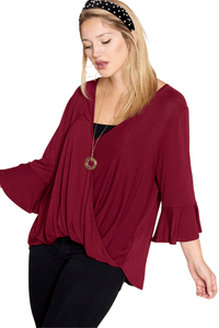 plus size Blouse & Shirt XL / AUS 16 / Burgundy Red aa. Alice Top
