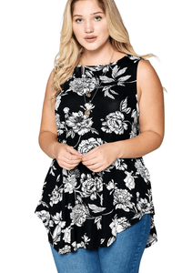 plus size Blouse & Shirt XL / AUS 16 / Floral Black aa. Ivy Sleeveless Top