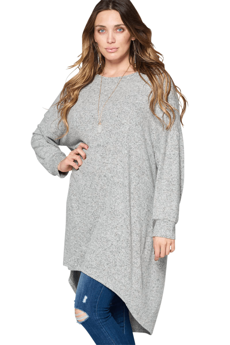 plus size Blouse & Shirt XL / AUS 16 / Grey Sabrina Tunic Top - Grey
