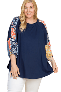 plus size Blouse & Shirt XL / AUS 16 / Navy Blue ab. Bailey Top - SAMPLE