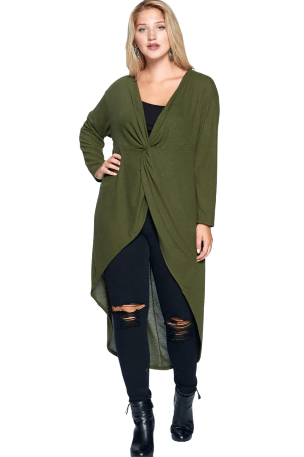 plus size Blouse & Shirt XL / AUS 16 / Olive aa. Blaire Hi Low Top - Olive