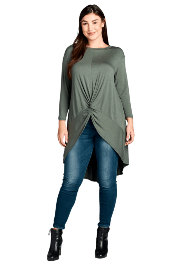 plus size Blouse & Shirt XL / AUS 16 / Olive Green aa. Farrah Top - Olive