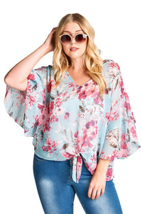 plus size Blouse & Shirt XL / AUS 16 / Pink & Blue aa. Cobie Top - Blue/Pink