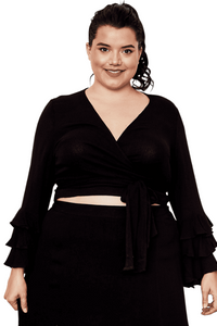 plus size Blouse & Shirt XL / AUS 18 / Black Heidi Wrap Top
