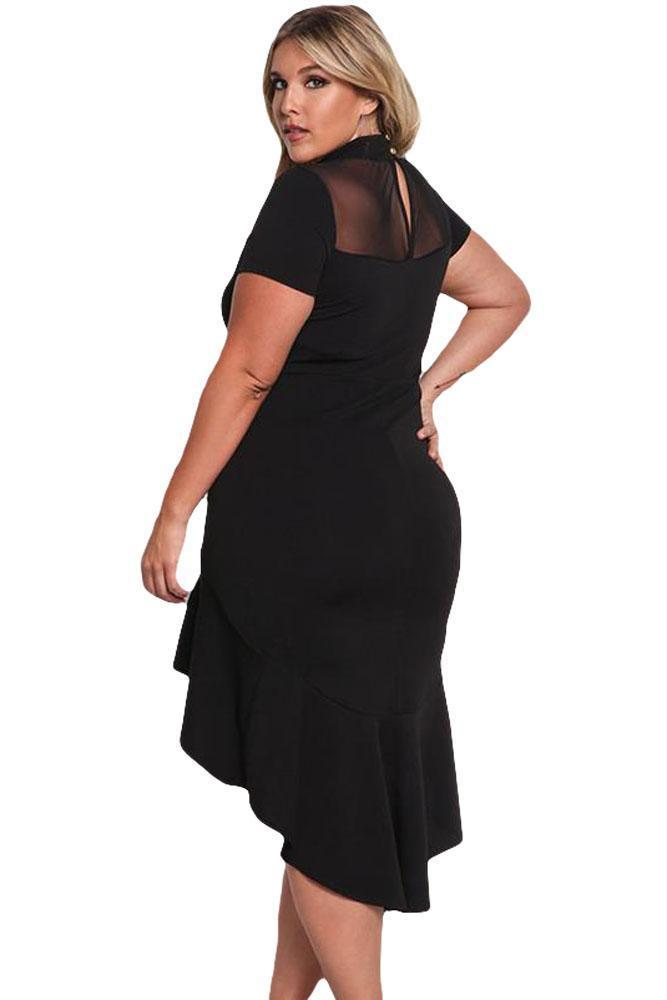 plus size Bodycon Dress XL / AUS 14 - 16 / Black Simone Hi-Low Hem Dress - Black