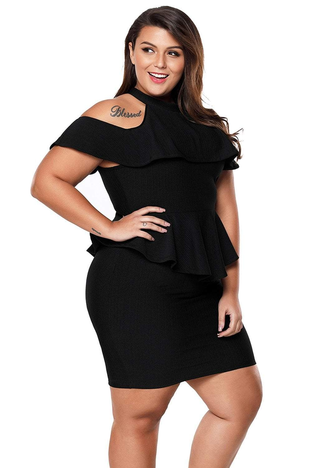 plus size Bodycon Dress XL / AUS 14 - 16 / Black zzz. Alison Peplum Dress - Black