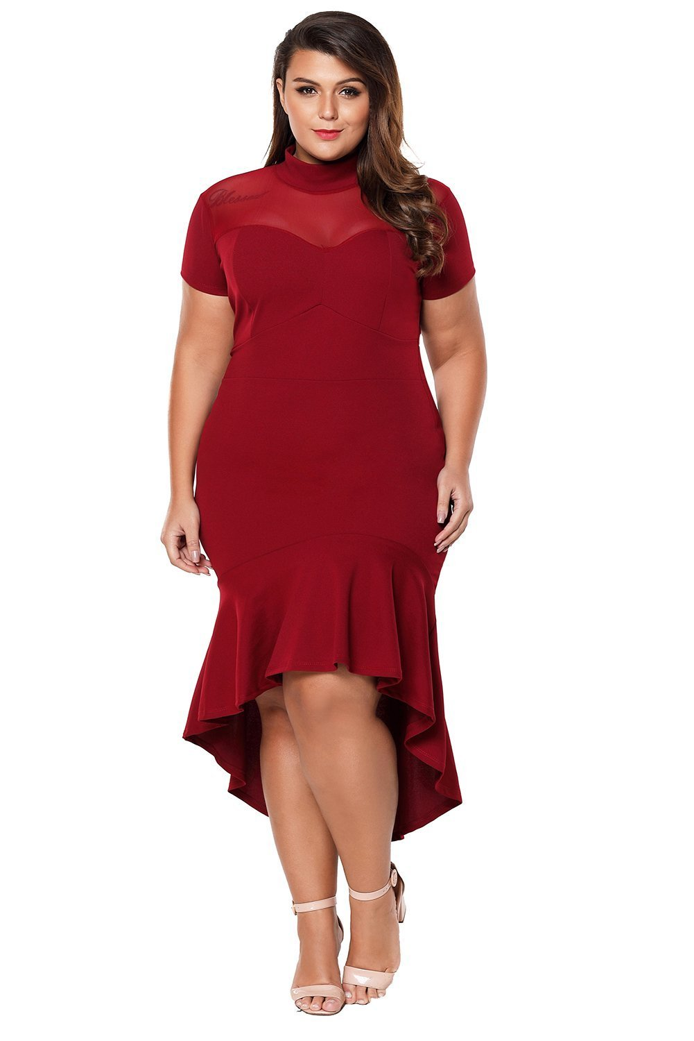 plus size Bodycon Dress XL / AUS 14 - 16 / Wine Red Simone Hi-Low Hem Dress - Wine Red