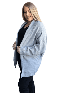 plus size Jacket L / AUS 14 - 16 / Grey Karlie Chunky Knit Cardigan - Grey