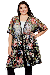 plus size Jacket XL / 2XL / Floral Black Tihara Embroidered Kimono