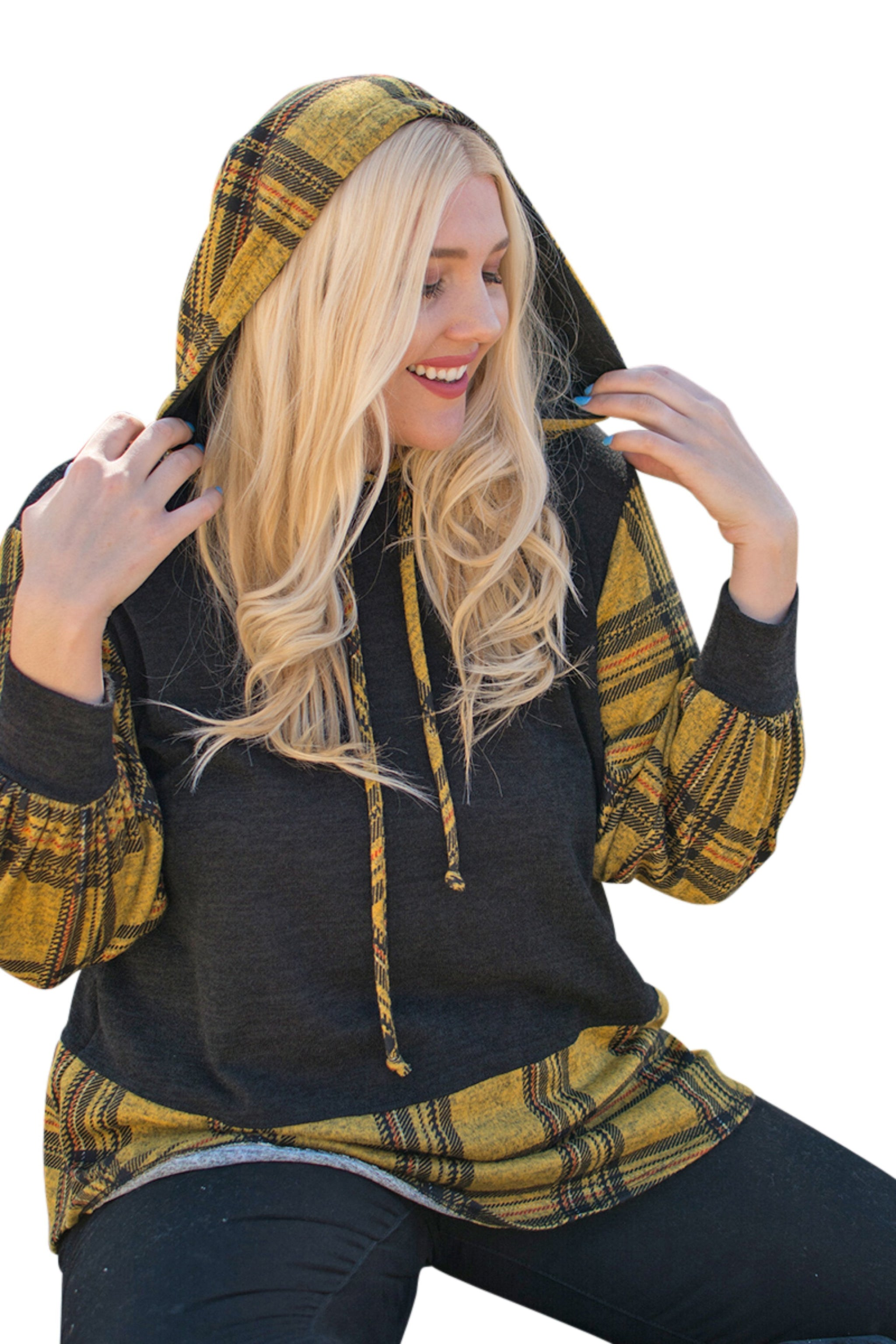 plus size Jumper aa. Andy Hoodie - Black/Mustard
