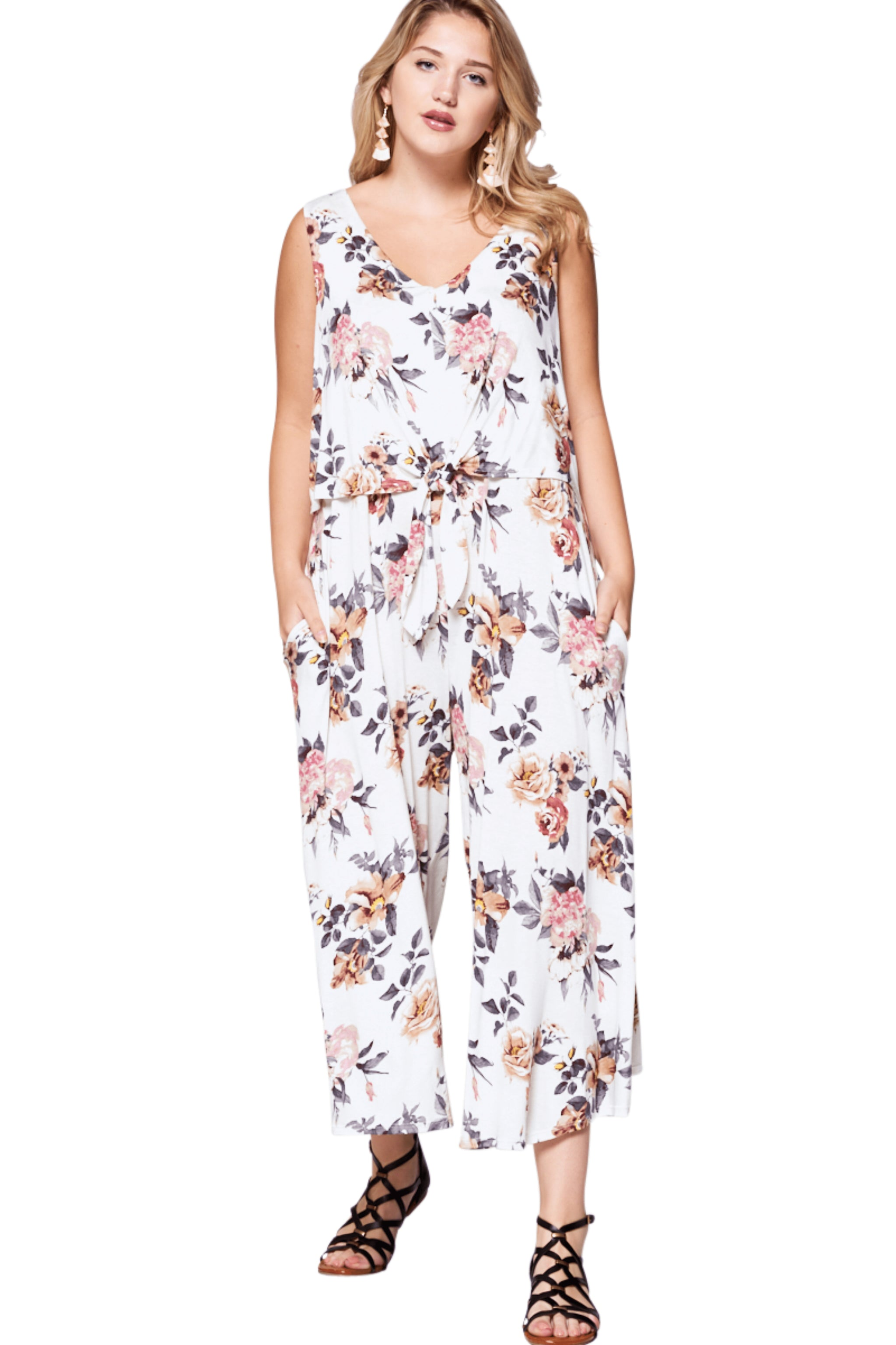 plus size Jumpsuit aa. Hallie Jumpsuit - White Floral