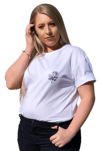 plus size L / AUS 14 / White Rose Tee