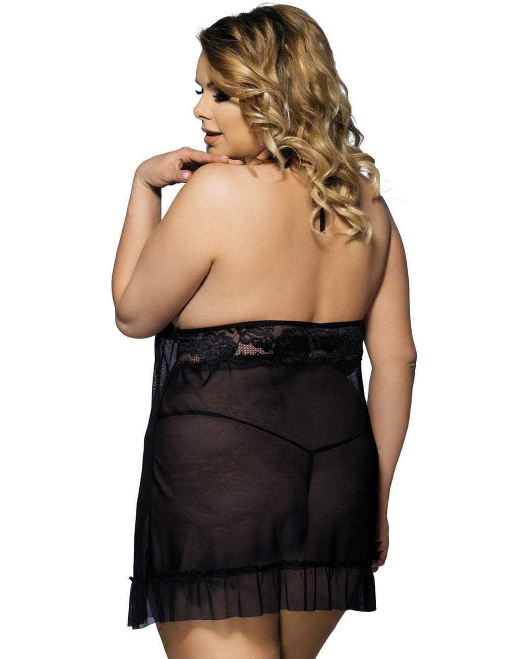 plus size Lingerie Black / 3XL / AUS 18 Aria Halter Babydoll & G-String Set - Black