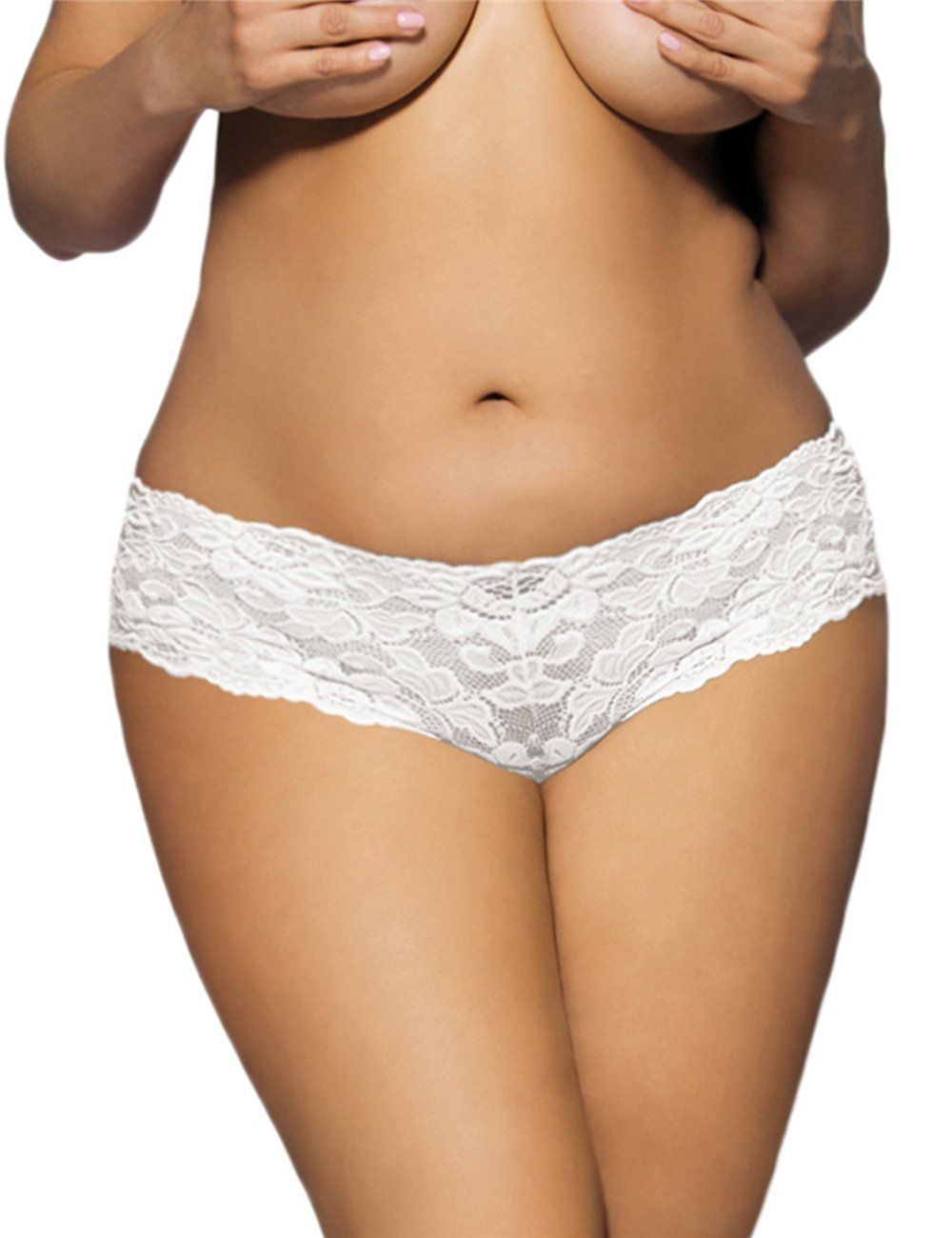 plus size Lingerie White / 3XL / AUS 18 Tamie Lace Briefs - White