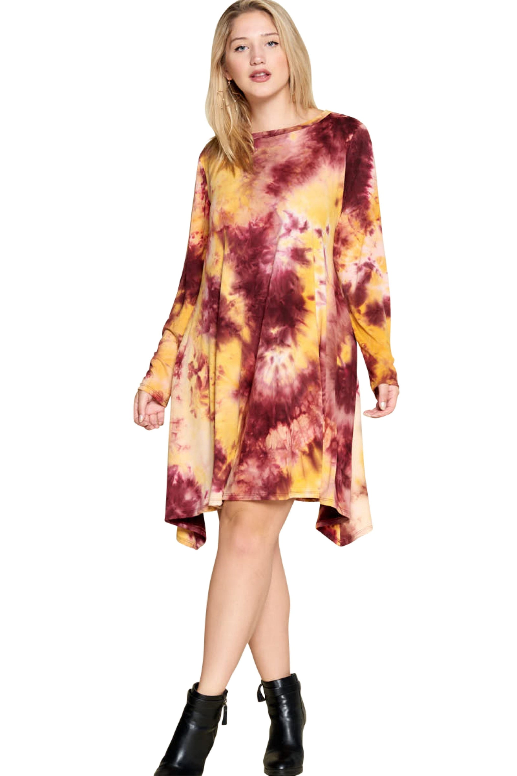 plus size Long Sleeve Dress aa. Melody Dress - Crimson/Gold
