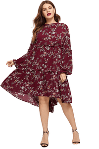plus size Long Sleeve Dress L / AUS 18 / Burgundy Red Dasha Dress