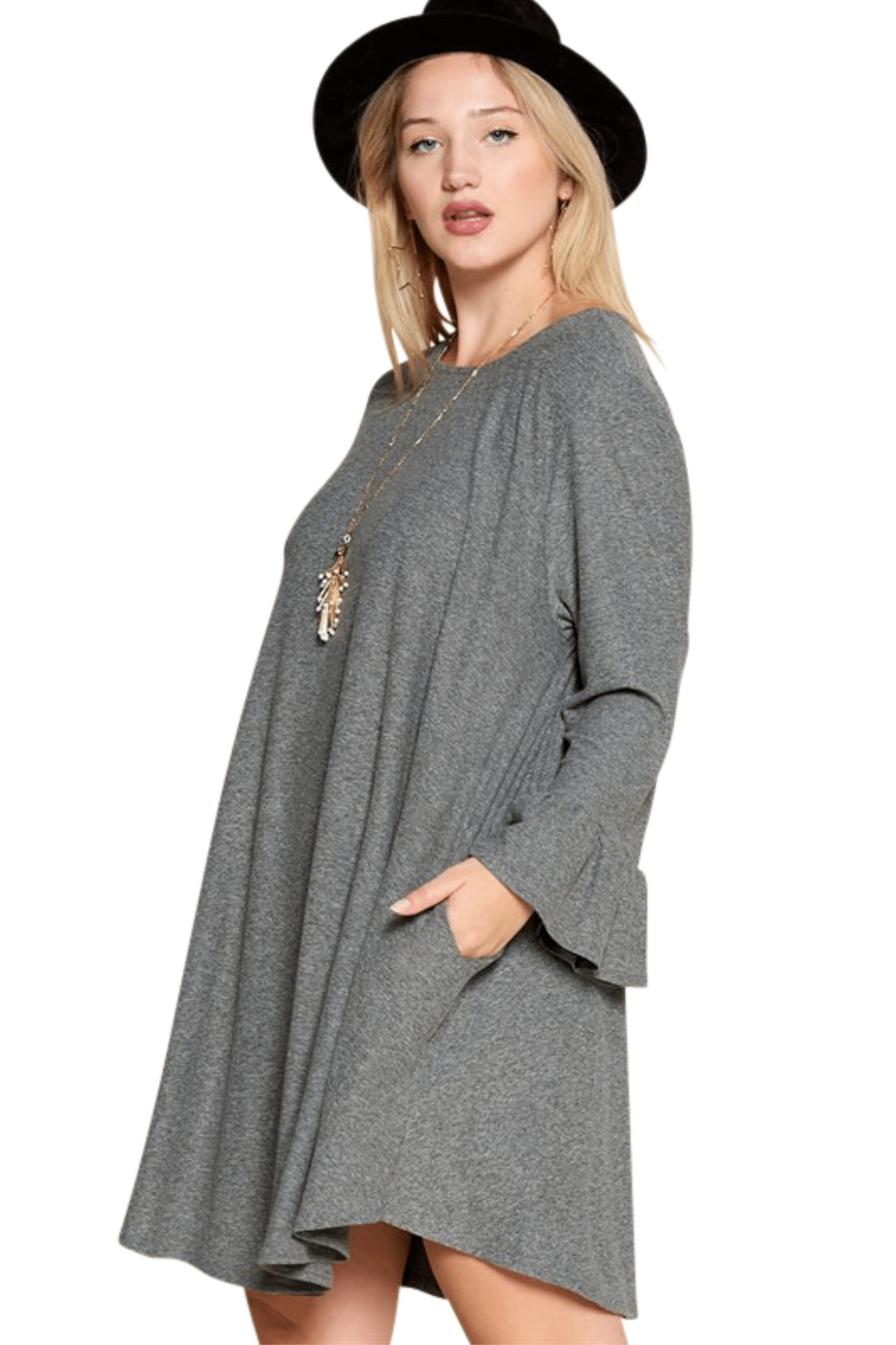plus size Long Sleeve Dress Stella Dress - Charcoal