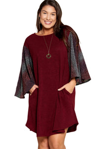 plus size Long Sleeve Dress XL / AUS 16 / Burgundy aa. Felix Dress - Burgundy