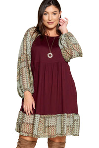 plus size Long Sleeve Dress XL / AUS 16 / Burgundy Purple Sally Dress
