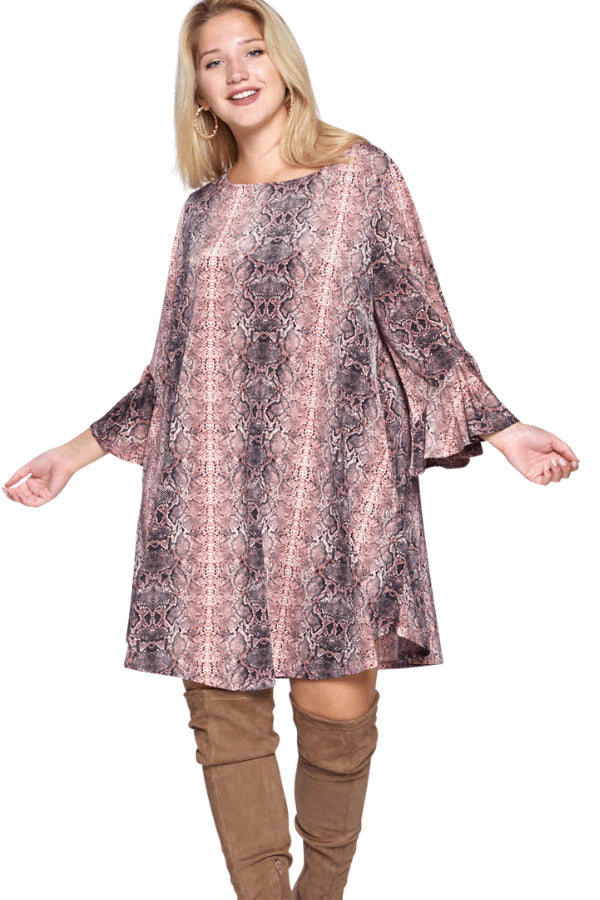 plus size Long Sleeve Dress XL / AUS 16 / Snakeskin Pink Jayda Dress