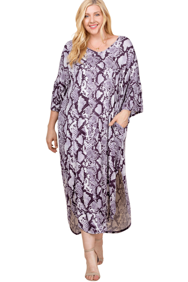plus size Long Sleeve Dress XL / AUS 16 / Snakeskin Purple Georgie Dress