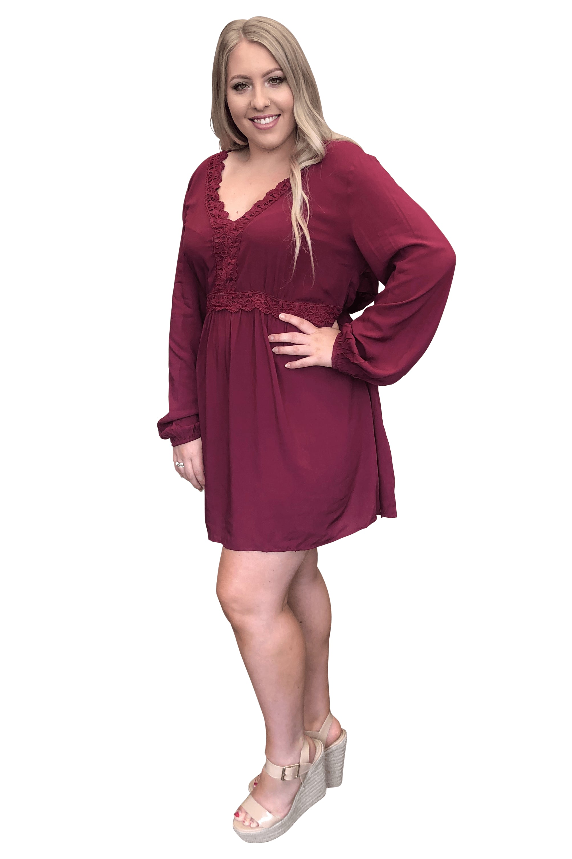 plus size Long Sleeve Dress XL / AUS 16 / Wine Red Ally Dress